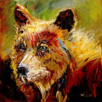 """CINNAMON BEAR WILD LIFE ANIMAL OIL PAINTING D WHITEHEAD ARTOUTWEST DAILY PAINTING JANUARY 4"" original fine art by Diane Whitehead"