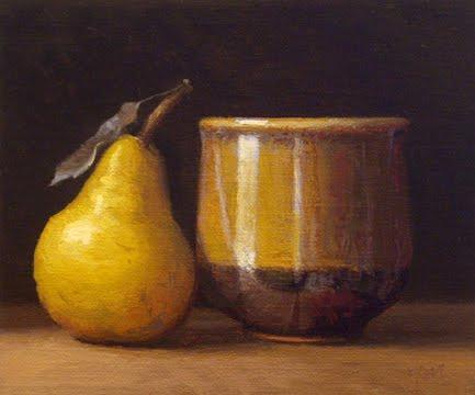 """Pear with Handmade Flower Bowl"" original fine art by Abbey Ryan"