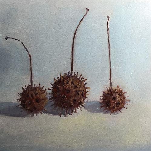 """sweet gum balls"" original fine art by Merle Manwaring"