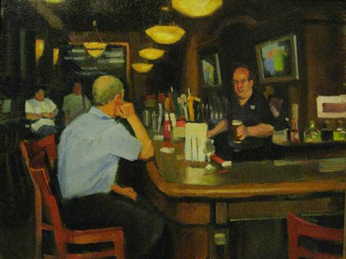 """A bar in Brooklyn"" original fine art by Kathy Weber"