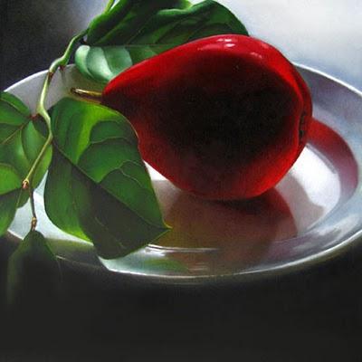 """Red Pear No. 2  6x6"" original fine art by M Collier"