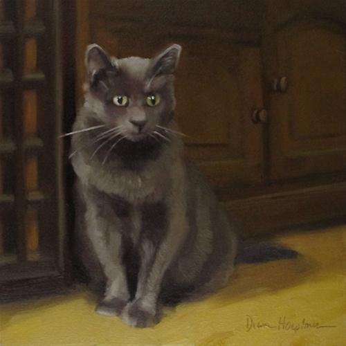 """Gray on Yellow small original oil painting cat"" original fine art by Diane Hoeptner"