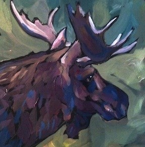 """Moose Ears Right"" original fine art by Kat Corrigan"