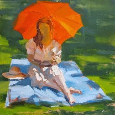 """ORANGE BROLLY"" original fine art by Helen Cooper"