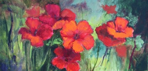"""""""Field of Poppies Floral Paintings by Arizona Artist Amy Whitehouse"""" original fine art by Amy Whitehouse"""