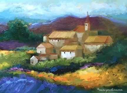 """""""Slice of Life - French Village Lavender and a Florida Workshop - Landscape and Flower Paintings by N"""" original fine art by Nancy Medina"""