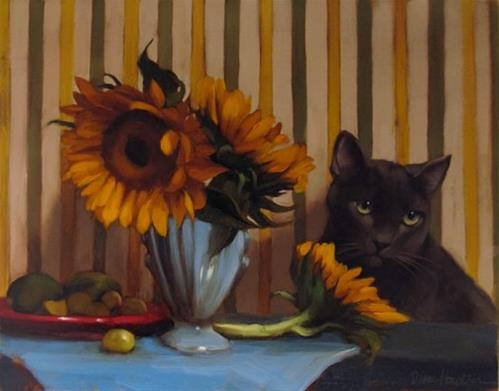 """The Set Up floral still life painting with cat"" original fine art by Diane Hoeptner"