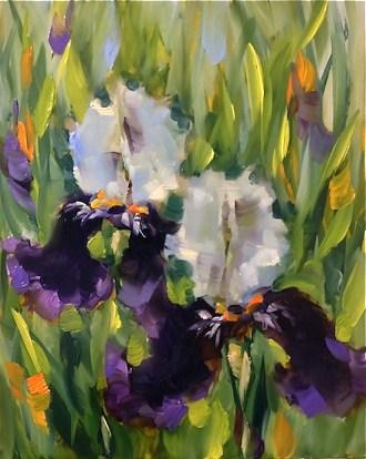 """Purple Dancers Iris and a Dallas Arboretum Workshop by Texas Flower Artist Nancy Medina"" original fine art by Nancy Medina"