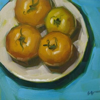 """Yellow Tomatoes 4"" original fine art by Carol Marine"