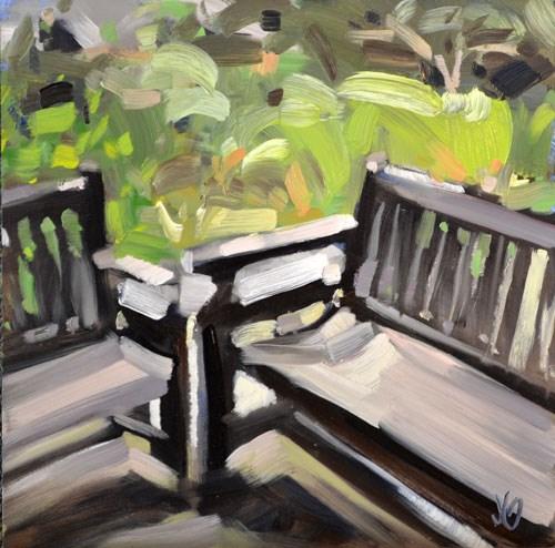 """Benches"" original fine art by Jessica Green"