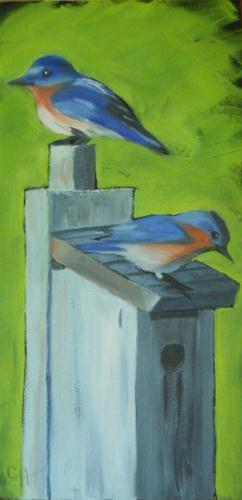 """""""Blue Birds"""" original fine art by Claire Henning"""