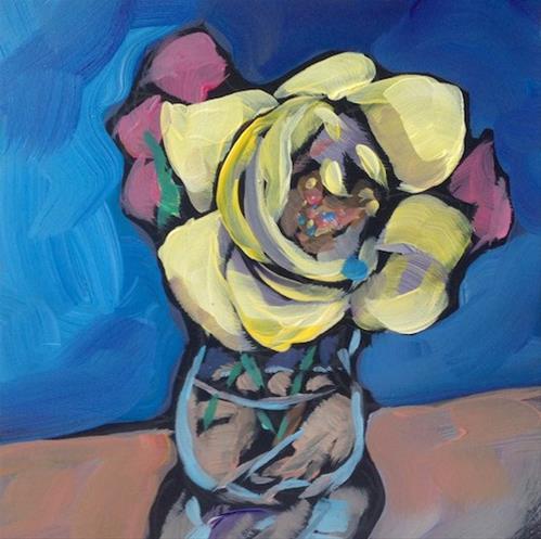 """Mom's Yellow Rose"" original fine art by Kat Corrigan"