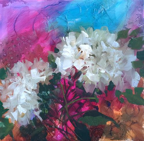 """Italian Sunset Hydrangeas and Countdown to Painting Brilliant Colors"" original fine art by Nancy Medina"