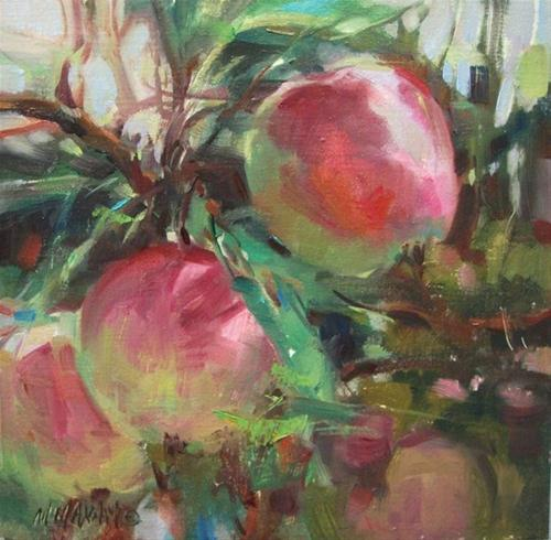 """""""New Crop - first of the season apple paintings and OPA"""" original fine art by Mary Maxam"""