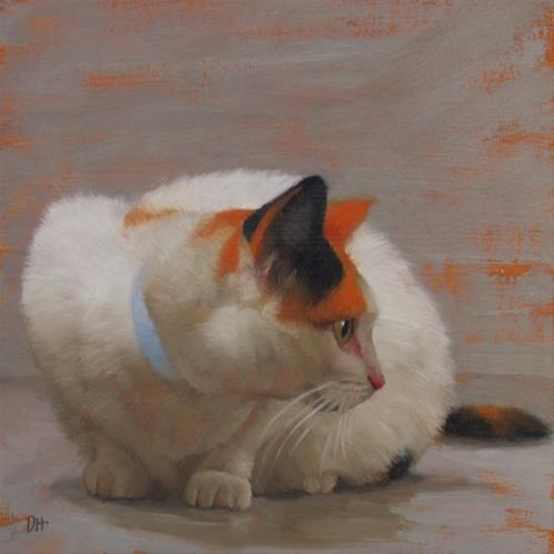 """Careful Calico cat painting"" original fine art by Diane Hoeptner"
