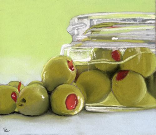 """Olives with pimentos"" original fine art by Ria Hills"