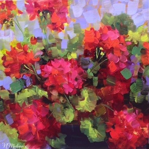 """Island Geraniums and Violet Infatuations"" original fine art by Nancy Medina"
