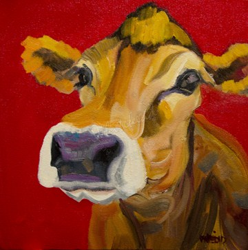 """""""COW CATTLE TWO OF NINE YOU SAY? ARTOUTWEST ORIGINAL OIL PAINTING"""" original fine art by Diane Whitehead"""
