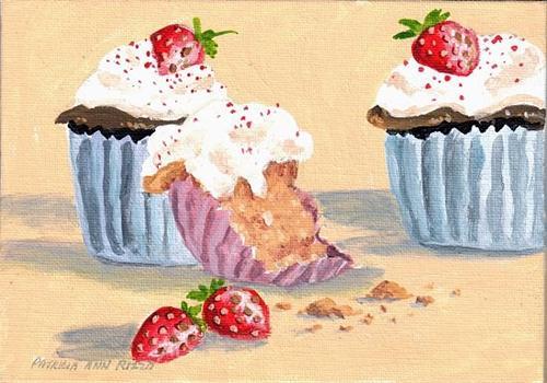 """""""Strawberry Cupcakes"""" original fine art by Patricia Ann Rizzo"""