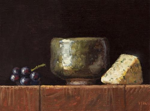 """""""Korean Bowl with Grapes and Bleu Cheese"""" original fine art by Abbey Ryan"""
