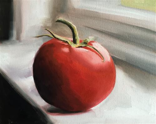 """Tomato on Ledge"" original fine art by James Coates"