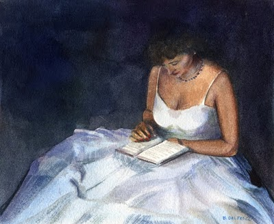 """""""Watercolor: Dress Rehearsal (and a painting by Laura Wambsgans)"""" original fine art by Belinda Del Pesco"""