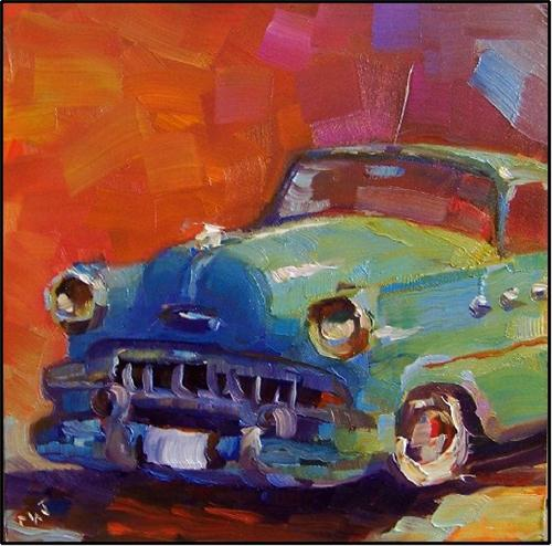 """""""Lil Darlin, 6x6 oil on panel, old vars, antique cars, BUick, dyna flow, paintings of classic cars,"""" original fine art by Maryanne Jacobsen"""