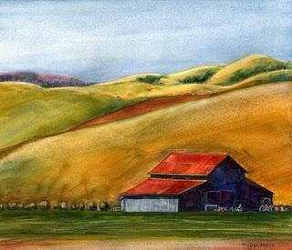 """""""Watercolor: Central Coast Ranch"""" original fine art by Belinda Del Pesco"""