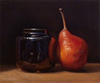 """Crimson Bartlett Pear with Temmoku Ink Bottle"" original fine art by Abbey Ryan"