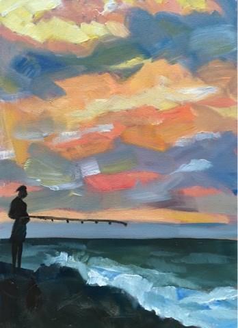 """Sunset Catch"" original fine art by Piya Samant"