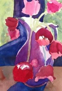 """Tulips in an Ebay Vase"" original fine art by Maria Peagler"