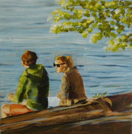 """Chillen am Schlachtensee in Berlin"" original fine art by Sabine Hüning"