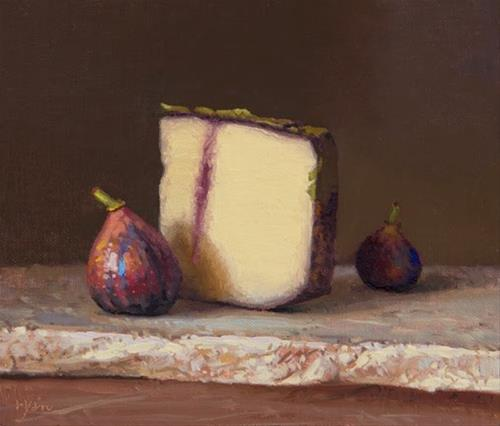 """""""Two Figs with Ubriacone al Prosecco Mitica on Marble (the light, the shade)"""" original fine art by Abbey Ryan"""