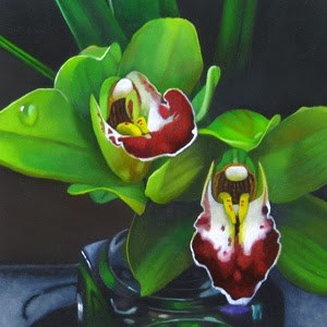 """Green Orchid 4x4"" original fine art by M Collier"