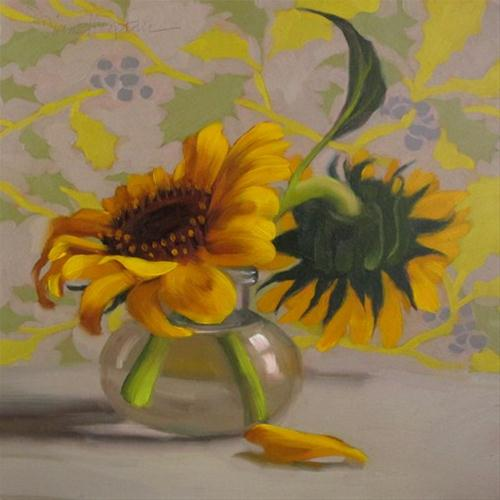 """""""Berry Sunflowers small still life oil painting"""" original fine art by Diane Hoeptner"""
