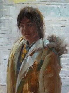 """""""A girl by window"""" original fine art by Fongwei Liu"""