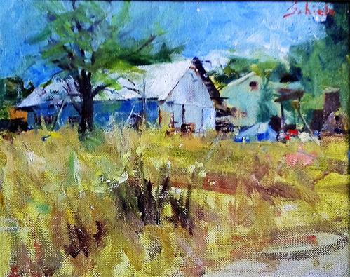 """house and tree"" original fine art by Richard Schiele"