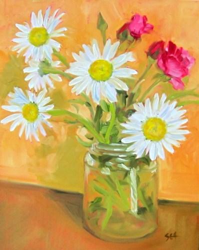 """Frontyard Daisies"" original fine art by Sandy Haynes"
