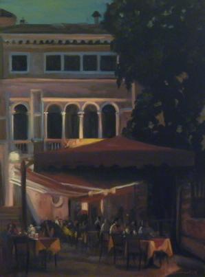 """""""Dinner in Venice"""" original fine art by Jonelle Summerfield"""