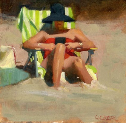 """Beach read"" original fine art by Kathy Weber"