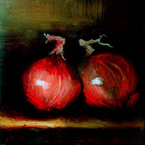 """Two Red Onions"" original fine art by Bob Kimball"