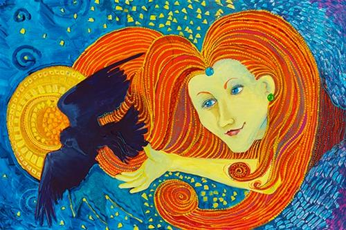 """""""Original Whimsical Female Figurative Painting  Yellow Lady and Raven  by Colorado Artist Nancee Je"""" original fine art by Nancee Busse"""