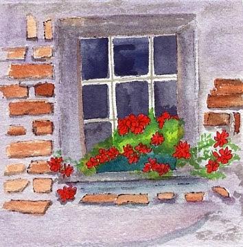 """Geraniums in Old Window"" original fine art by Sue Furrow"