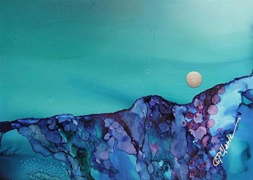 """Amethyst Moon, 5 x 7 Alcohol Ink Landscape"" original fine art by Donna Pierce-Clark"