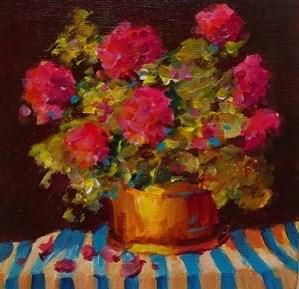 """Original geranium still life painting art floral flower"" original fine art by Alice Harpel"