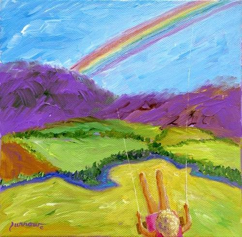 """""""Rainbow and Spring is Here !!"""" original fine art by Sue Furrow"""