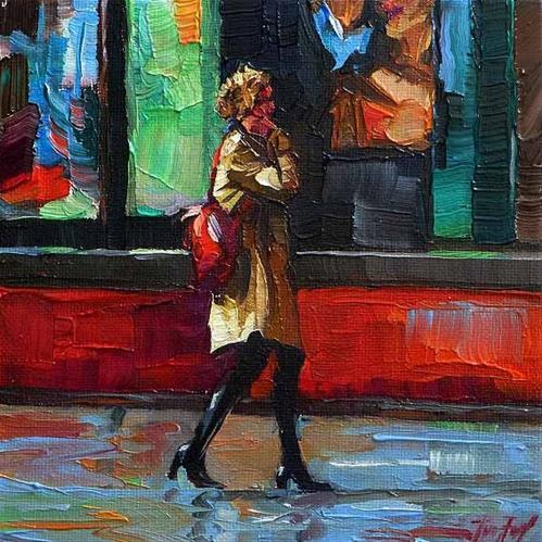 """shopping stress"" original fine art by Jurij Frey"