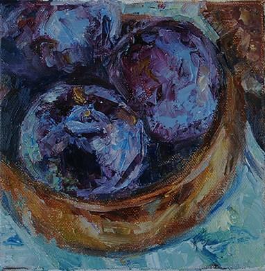 """""""Plum Tasty — Day 3 —30 in 30"""" original fine art by Carol DeMumbrum"""