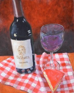 """""""Wine and Cheese Revisited"""" original fine art by Robert Frankis"""