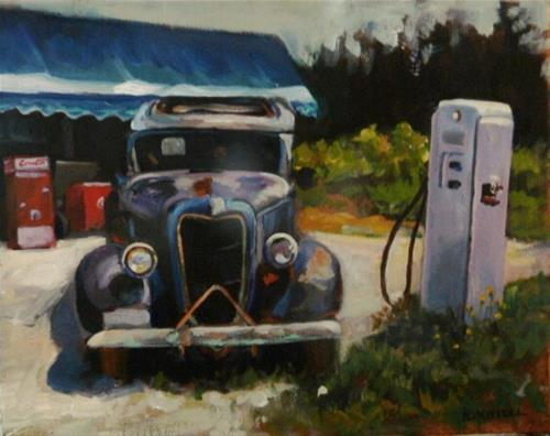 """""""ABANDONED CAR AND GAS PUMP"""" original fine art by Kathryn Kittell"""